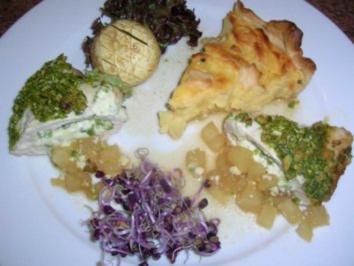 Gefüllte Hähnchenbrust in Ananassauce an Kartoffeltarte - Rezept