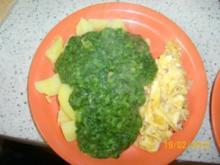 Spinat mit Kartoffeln und Rüherei - Rezept