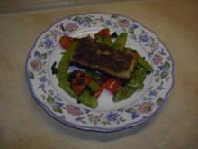 Fisch - Pangasiusfilet im Wasabimantel auf buntem Trüffel-Gemüse - Rezept