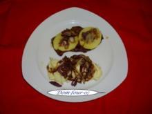 Kalbsleber mit glasierten Apfelscheiben, - Rezept