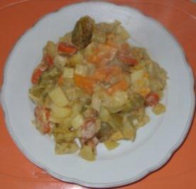 Vegetarisches - Auflauf mit Kartoffeln, Süsskartoffeln, Porree - Rezept