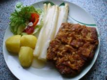 Senfschnitzel, Spargel, Salzkartoffeln - Rezept