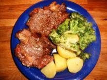 Dänisches Rib-Eye-Steak an gebratenen Broccoli mit Kartoffeln - Rezept