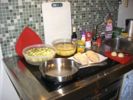 Rosenkohlpüree mit gebratener Ente an Rotweinsößchen - Rezept
