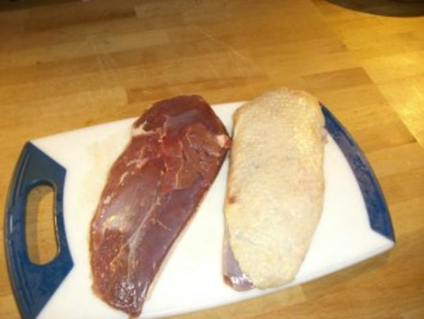 Rosenkohlpüree mit gebratener Ente an Rotweinsößchen - Rezept - Bild Nr. 2