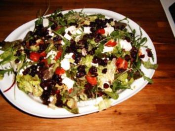 Rezept: Großer Salatteller mit weißem Balsamico-Dressing