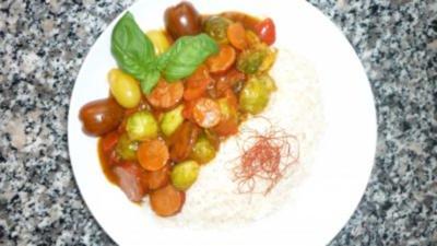 Kabanossi-Gemüsepfanne mit Reis - Rezept