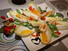 Fruchtiger Chicoréesalat mit Jakobsmuscheln an Orangenvinaigrette - Rezept