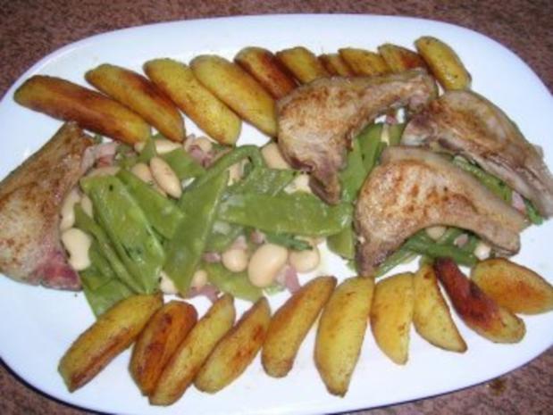 Spanferkelkoteletts mit gemischten  Bohnen und Potato Wedges - Rezept - Bild Nr. 2