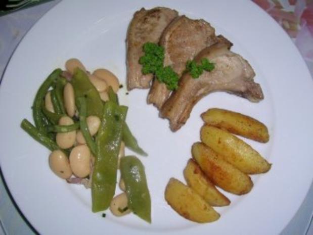 Spanferkelkoteletts mit gemischten  Bohnen und Potato Wedges - Rezept - Bild Nr. 4