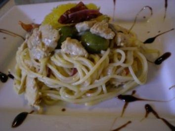 Spaghetti al Limone mit Puten Streifen, Oliven, Tomaten und Kapern - Rezept
