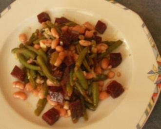 Rezept: Bohnensalat: Grün-Weiß-Rot