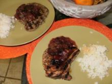 Schweinekotlett mit Plaumen Sosse - Diese ziehen lassen fuer in paar Stunden bevor grillen - Pork Chops - Iowa Style - Rezept