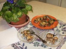 Pilze- Gefuellte Pilze mit Blau Kaese mit Pignoli -  Nur 50 Kal. Eine Mahlzeit oder fuer Snack - Rezept