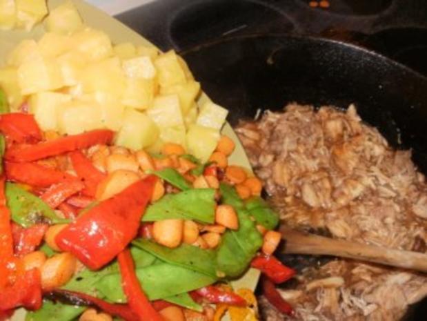 Huhn- Huehnerfleisch mit Ananas ueber Reis - 330 Kal. Fettarm - Ein gutes Familien Essen - Rezept - Bild Nr. 6