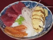 Verschiedene Sorten Sashimi mit Tamagoyaki - Rezept