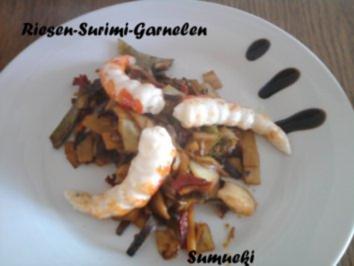 Surimi-Riesengarnelen auf scharfem Wok-Gemüse - Rezept