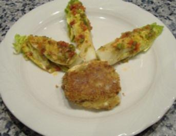Ziegenkäse mit Zucchini,Walnuß-Parmesankruste und Salatherzen - Rezept