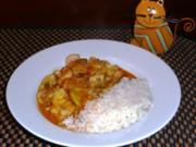 Fisch Curry mit Gemüse und Pilze - Rezept