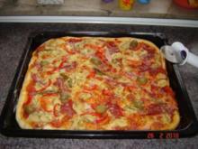 Pikante Kuchen : Pizzateig + fertige Pizza - Rezept