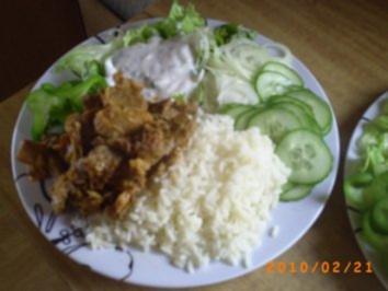 Hauptgericht: Gyros mit Reis und selbstgemachten Zaziki - Rezept