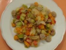 Pfannengericht - Süsskartoffel-Bratwurst-Pfanne - Rezept