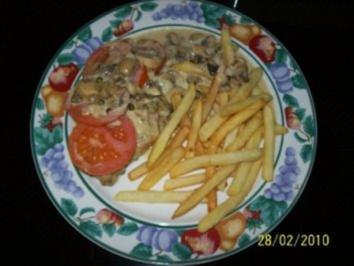 Gratinierte Champignon-Putenschnitzel mit Gouda - Rezept
