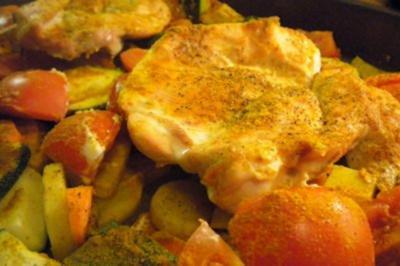 Hühnchenfilet im Gemüsebett - Rezept