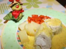 Chinakohlwickerl vom Kaninchen mit Dill-Senf-Sauce - Rezept