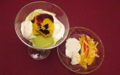 Rezept: Mango-Chili-Spaghetti mit Zitronengras-Kokos-Kaltschale und Grüntee-Eis