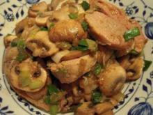 Marinierte Schweinemedaillons mit Champignons an Rotwein-Pilzsoße - Rezept