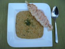 Linsencremesuppe mit Curry und Krabben - Rezept