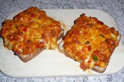 Snack: Toastbrot pikant und überbacken - Rezept