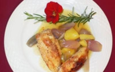 Spanisches Hähnchen im Topf mit Schalotten und Kartoffeln süßsauer - Rezept