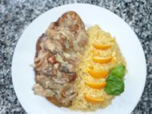 Putenschnitzel an Orangenreis und Pilzgemüse - Rezept