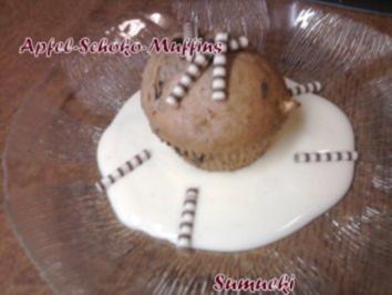 Apfel-Schoko-Muffins auf Vanillesossespiegel - Rezept
