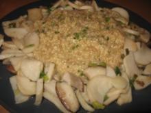 Hirsotto mit Kräutersaitlingen und Lauchzwiebeln - Rezept