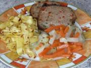 Gemüse: Kohlrabi-Möhrengemüse mit Bratnudeln und Kräuter-Hackbraten - Rezept