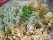 Kartoffelbrei mit Rührei und Gurkensalat - Rezept
