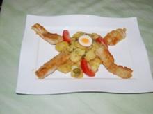Zanderfischstäbchen auf warmem Kartoffelsalat - Rezept