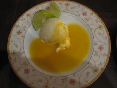 Limettencreme an Mangosauce - Rezept