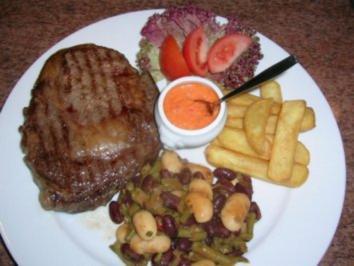 US-Prime Roastbeef an Chilibohnen mit Steakhouse Kartoffeln und argentinischer Steaksauce - Rezept