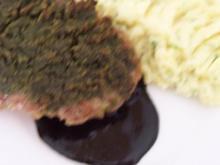 Kalbshaxe mit Kruste an Kartoffel-Pü mit Schnittlauch - Rezept