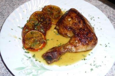 Geflügel: Hähnchenschenkel in Orangensaft mariniert - Rezept
