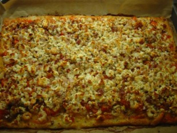 Pizza mit Eismeer-Garnelen und Schafskäse - Rezept - Bild Nr. 7