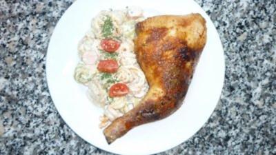 Rezept: Ras El Hanout-Hähnchen mit buntem Nudelsalat