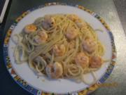 Spaghetti mit Knoblauch, ÖL und Garnelen - Spaghetti aglio e olio + Garnelen - Rezept