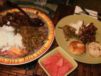 Rindfleisch- Orangenschale  Rindfleisch Streifen mit Reis und Ingwer Bohnen - wer gerne Orientalisch isst liebt das - Rezept