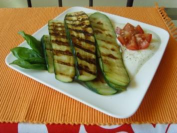 Gegrillte Zucchini mit Joghurt dip - Rezept
