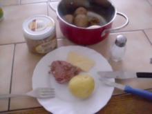 Pellkartoffeln mit Leberwurst ~ Butter ~ Salz - Rezept